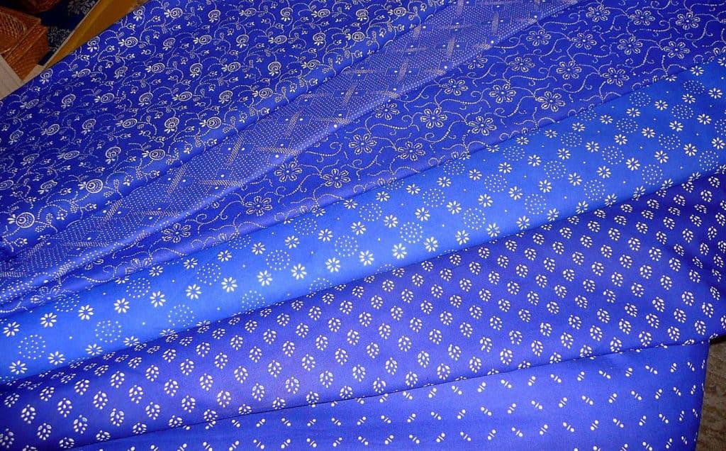 változatos kékfestő - lakástextil dekor anyag