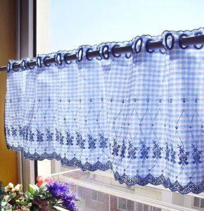 Egy egyedi kék vitrázs függöny