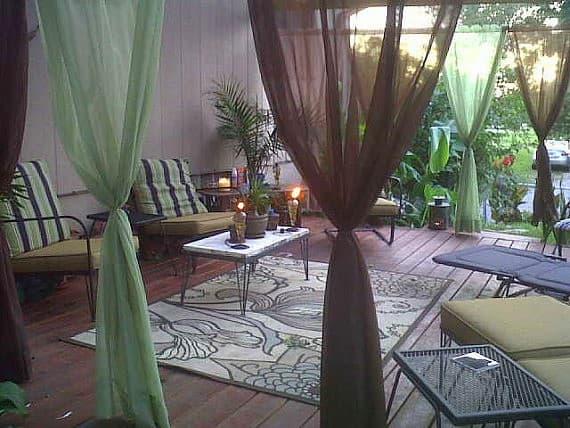 Kültéri kerti terasz függöny speciális színes nylon anyagból