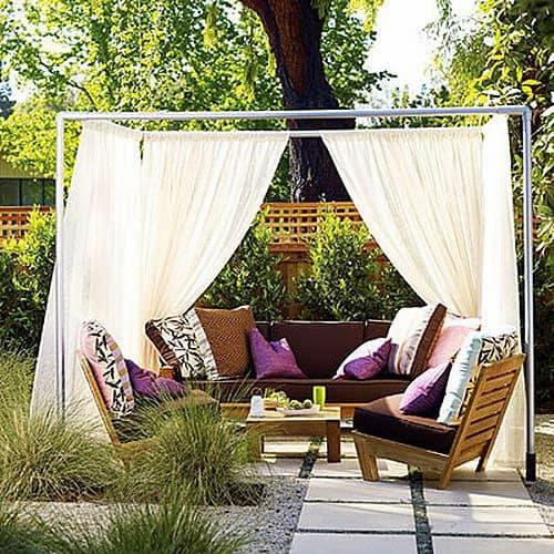 Kültéri kerti terasz függöny natúr anyagból