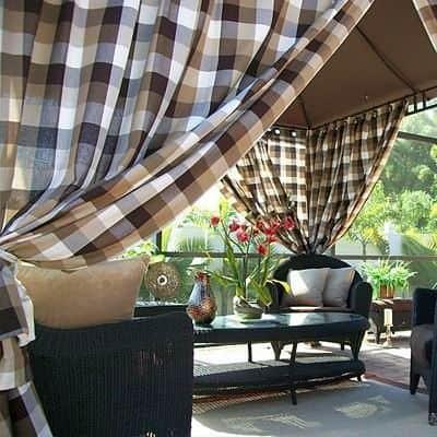 kerti kültéri kockás dekor függöny OLASZ RETRO