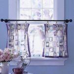 Vitrázs függöny dekor anyagból. Különleges behúzószalagos ráncolással megoldva.